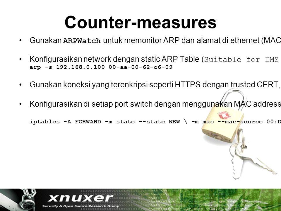 Counter-measures Gunakan ARPWatch untuk memonitor ARP dan alamat di ethernet (MAC).