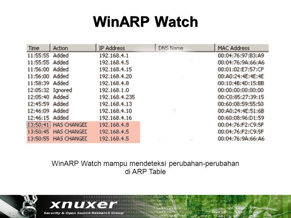 WinARP Watch WinARP Watch mampu mendeteksi perubahan-perubahan di ARP Table