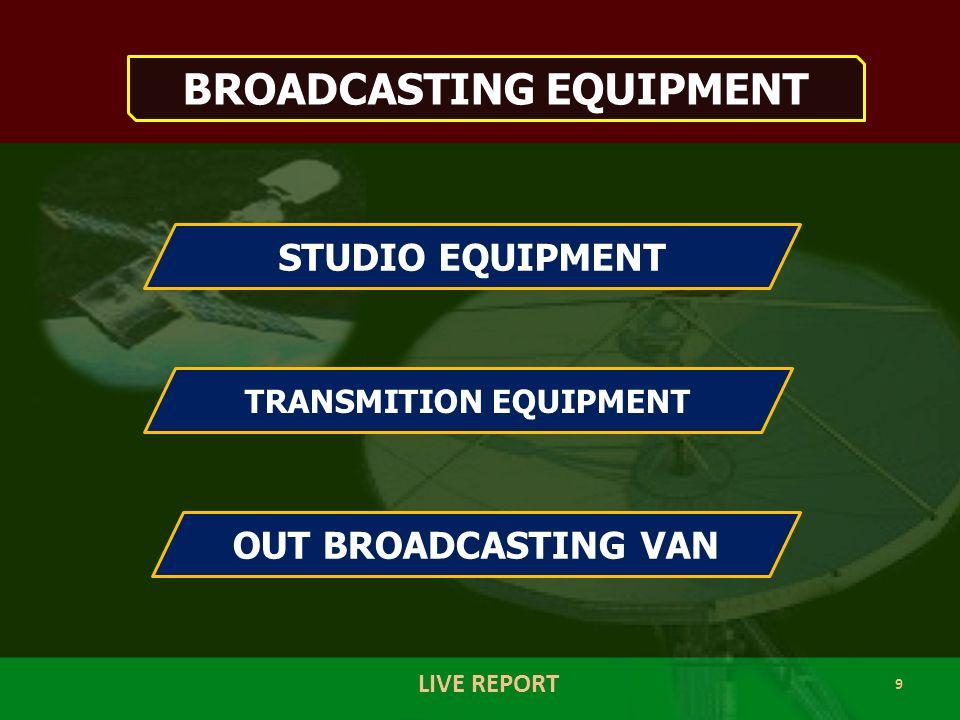 10 LIVE REPORT STUDIO EQUIPMENT Microphone Audio Mixer Computer Tape Recorder CD/DVD Player Satellite Receiver Microwave Receiver FM/AM Receiver