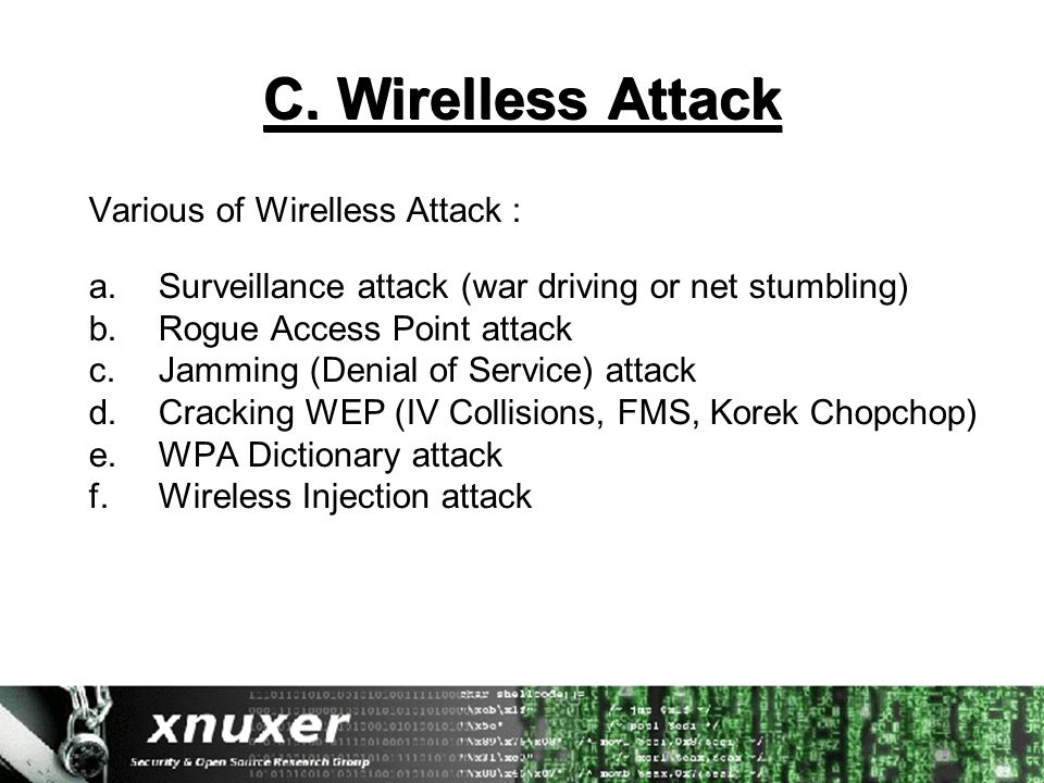 C. Wirelless Attack Various of Wirelless Attack : a.