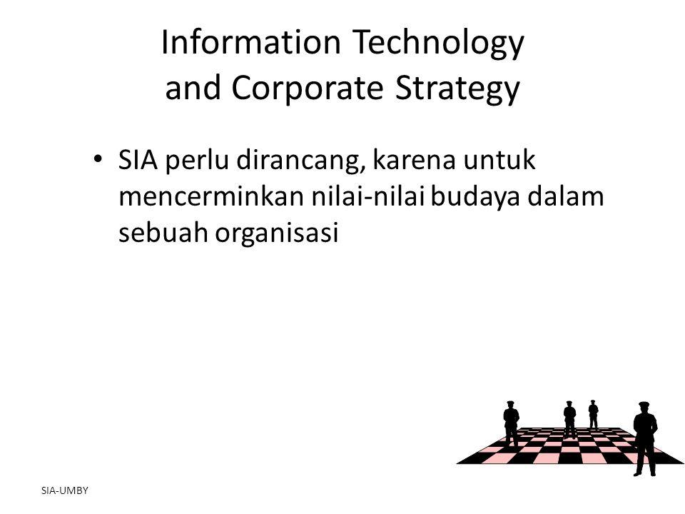 SIA-UMBY Information Technology and Corporate Strategy SIA perlu dirancang, karena untuk mencerminkan nilai-nilai budaya dalam sebuah organisasi