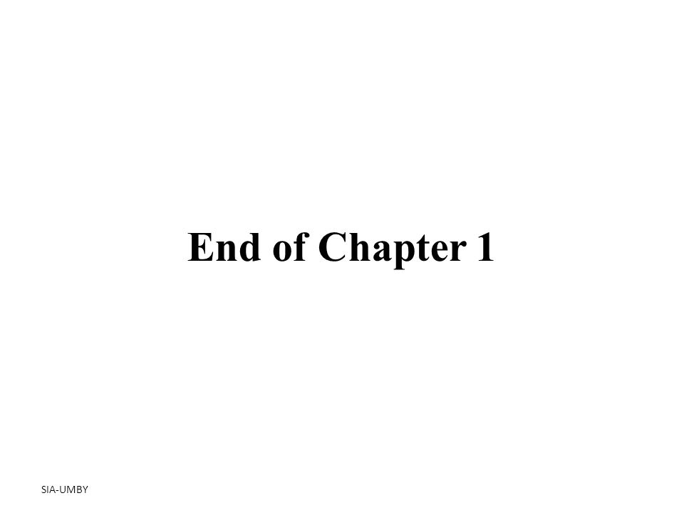 SIA-UMBY End of Chapter 1