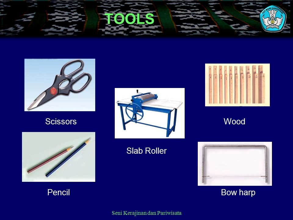 Seni Kerajinan dan PariwisataTOOLS ScissorsWood PencilBow harp Slab Roller