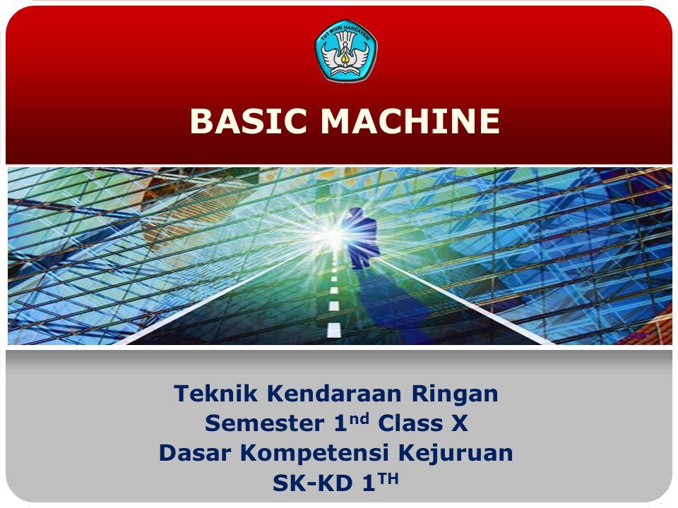 BASIC MACHINE Teknik Kendaraan Ringan Semester 1 nd Class X Dasar Kompetensi Kejuruan SK-KD 1 TH