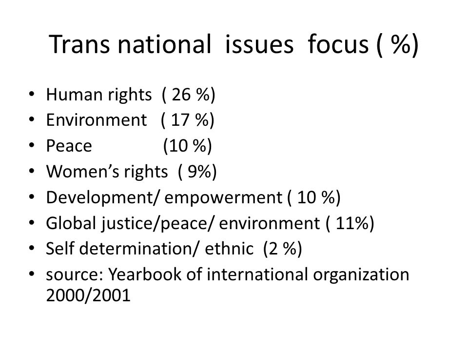 Trans national issues focus ( %) Human rights ( 26 %) Environment ( 17 %) Peace (10 %) Women's rights ( 9%) Development/ empowerment ( 10 %) Global justice/peace/ environment ( 11%) Self determination/ ethnic (2 %) source: Yearbook of international organization 2000/2001