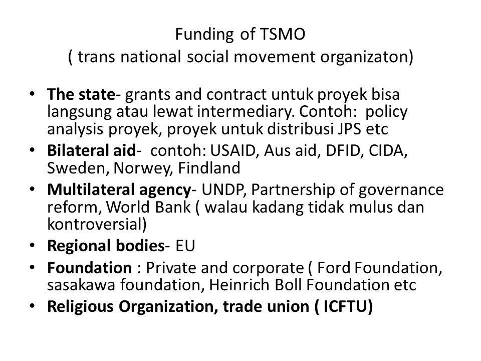 Funding of TSMO ( trans national social movement organizaton) The state- grants and contract untuk proyek bisa langsung atau lewat intermediary.