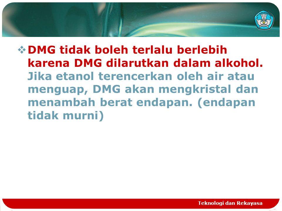 Immediately (segera)  Mencegah proses keluarnya DMG dari larutan/mengkristal karena penguapan etanol dalam larutan panas.