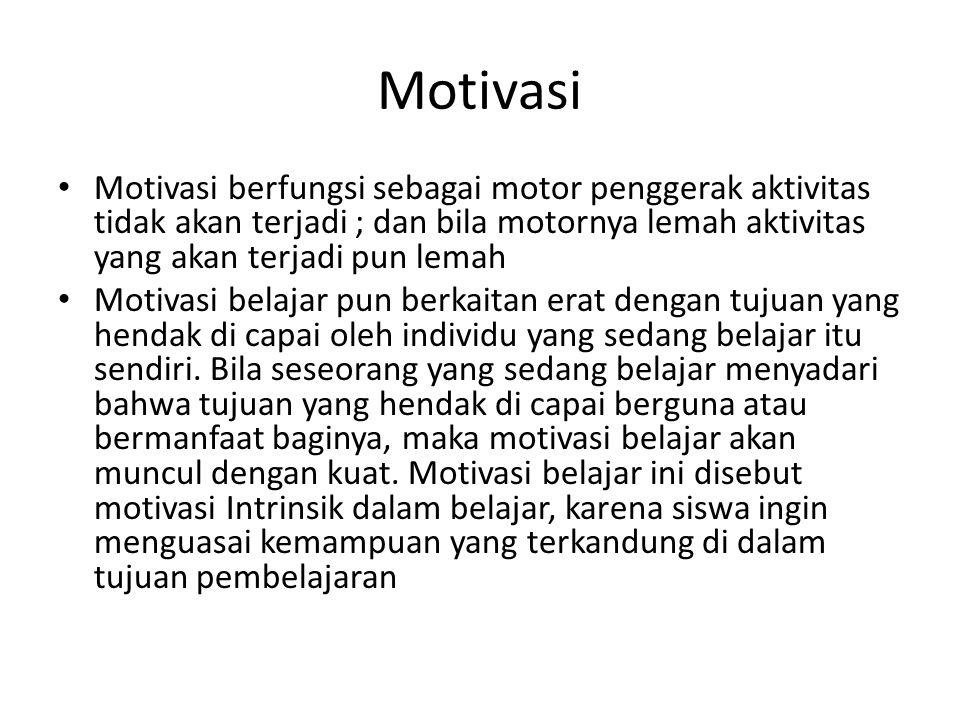 Motivasi intrinsik dan motivasi ekstrinsik Motivasi intrinsik disebut juga dengan motivasi murni karena muncul dari dalam diri Motivasi ekstrinsik dapat dilakukan dengan cara memberi pujian atau hadiah, menciptkan suasana yang menyenangkan, memberi nasihat kadarng kadang teguran