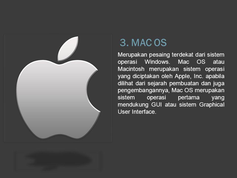 3. MAC OS Merupakan pesaing terdekat dari sistem operasi Windows.
