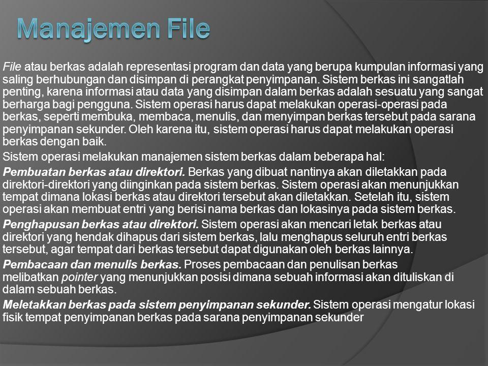 File atau berkas adalah representasi program dan data yang berupa kumpulan informasi yang saling berhubungan dan disimpan di perangkat penyimpanan.