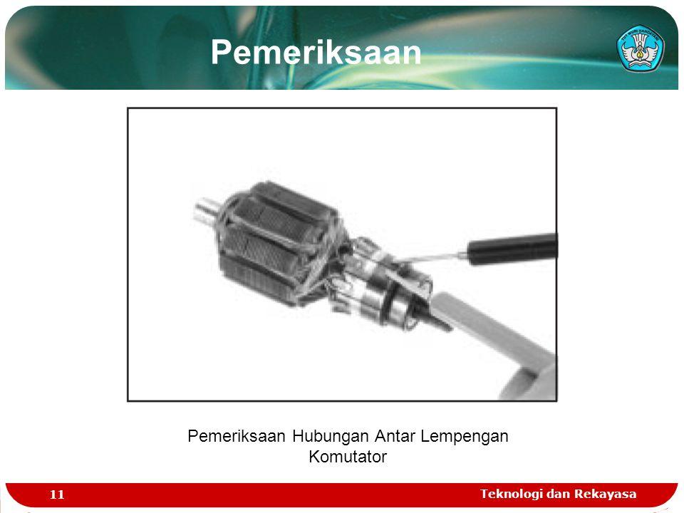 Teknologi dan Rekayasa 11 Pemeriksaan Hubungan Antar Lempengan Komutator Pemeriksaan