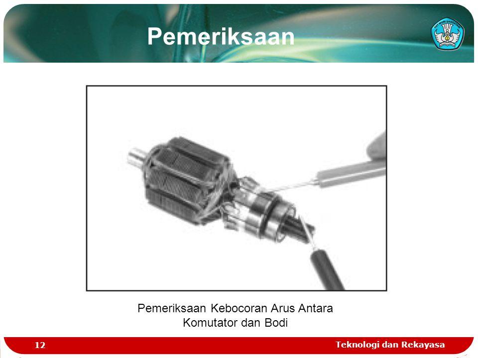 Teknologi dan Rekayasa 12 Pemeriksaan Kebocoran Arus Antara Komutator dan Bodi Pemeriksaan