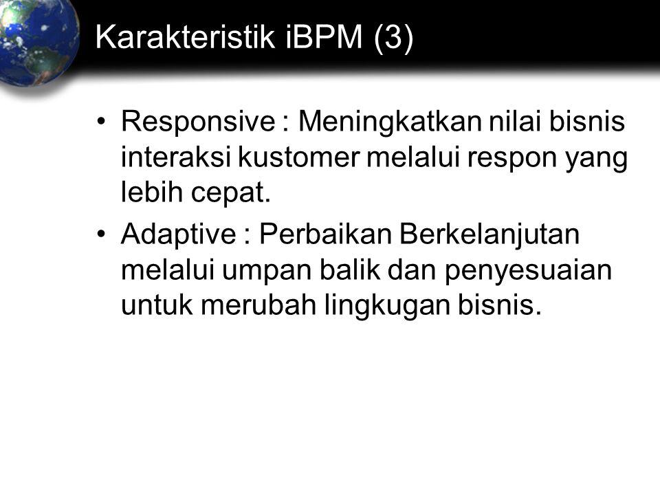 Karakteristik iBPM (3) Responsive : Meningkatkan nilai bisnis interaksi kustomer melalui respon yang lebih cepat.