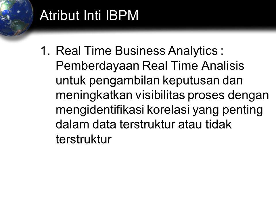 Atribut Inti IBPM 1.Real Time Business Analytics : Pemberdayaan Real Time Analisis untuk pengambilan keputusan dan meningkatkan visibilitas proses dengan mengidentifikasi korelasi yang penting dalam data terstruktur atau tidak terstruktur