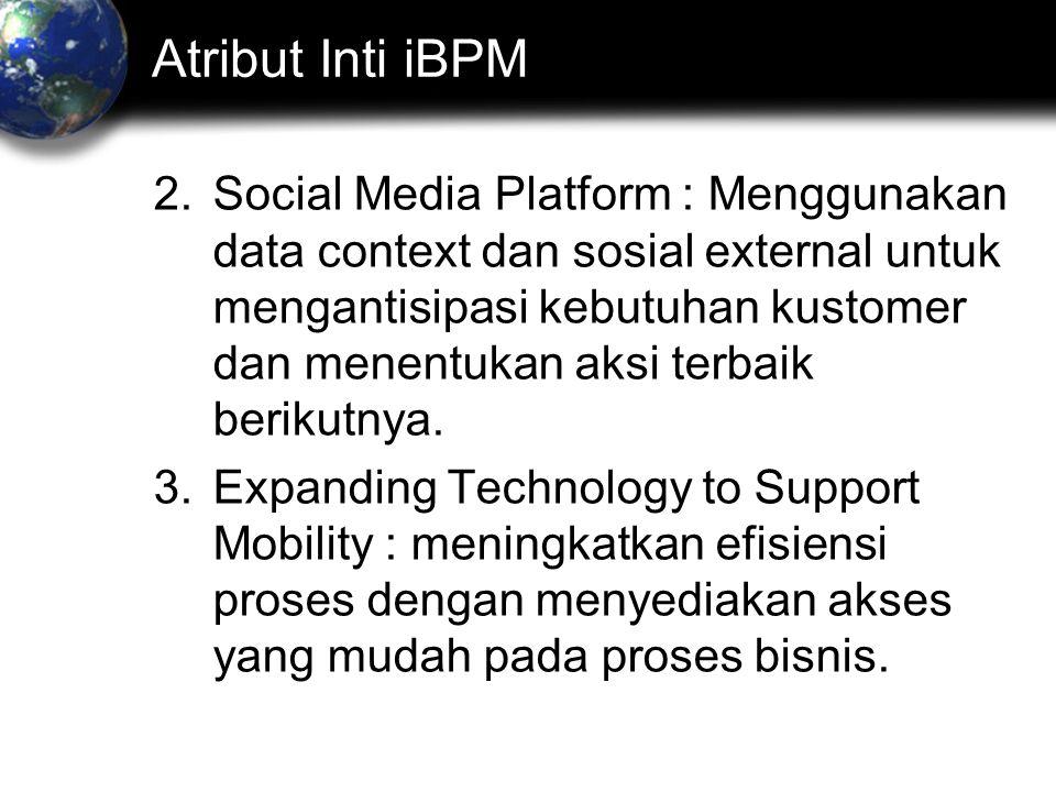 Atribut Inti iBPM 2.Social Media Platform : Menggunakan data context dan sosial external untuk mengantisipasi kebutuhan kustomer dan menentukan aksi terbaik berikutnya.
