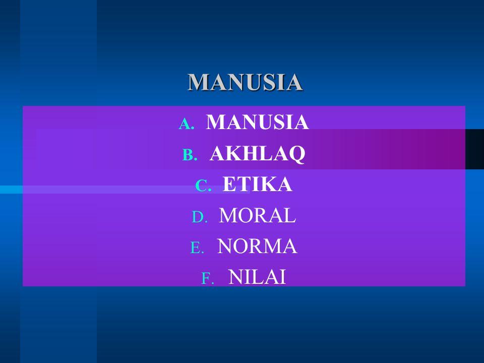 MANUSIA MANUSIA A. MANUSIA B. AKHLAQ C. ETIKA D. MORAL E. NORMA F. NILAI