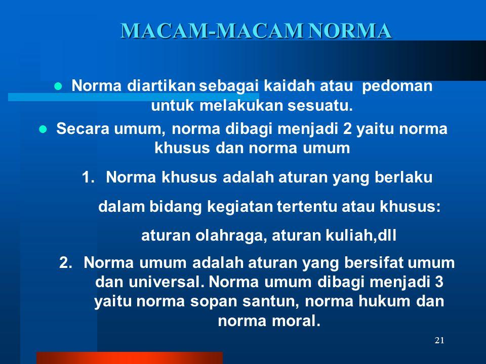MACAM-MACAM NORMA Norma diartikan sebagai kaidah atau pedoman untuk melakukan sesuatu. Secara umum, norma dibagi menjadi 2 yaitu norma khusus dan norm