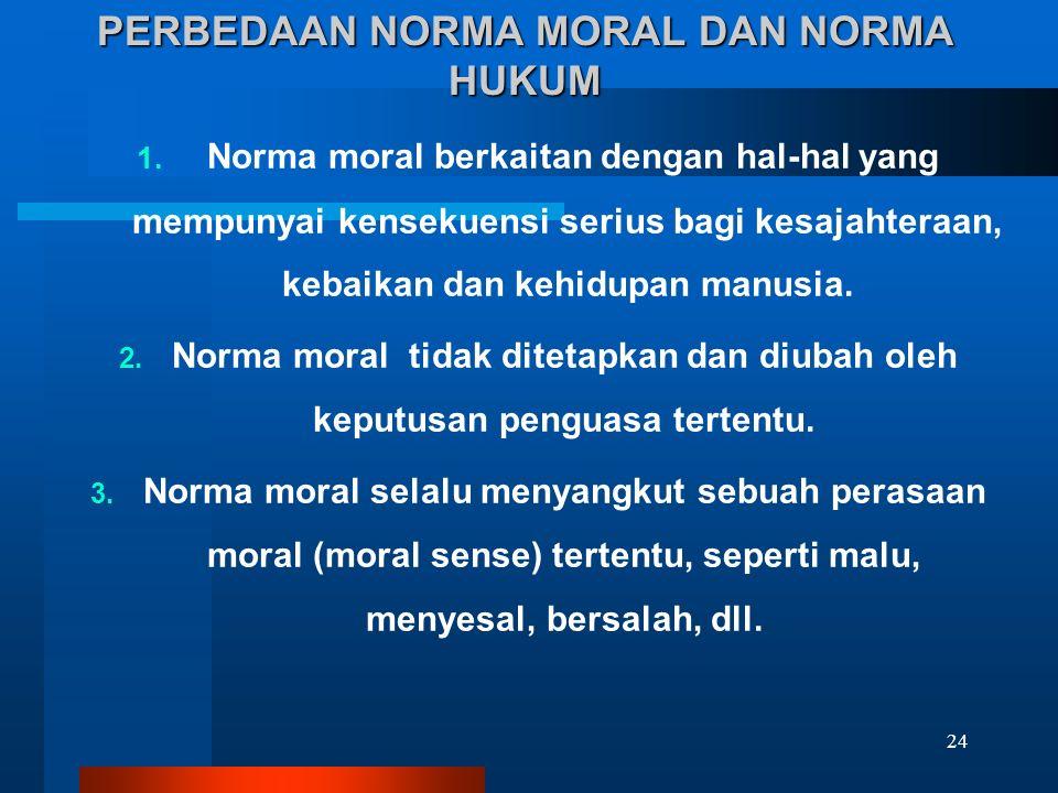 PERBEDAAN NORMA MORAL DAN NORMA HUKUM 1. Norma moral berkaitan dengan hal-hal yang mempunyai kensekuensi serius bagi kesajahteraan, kebaikan dan kehid