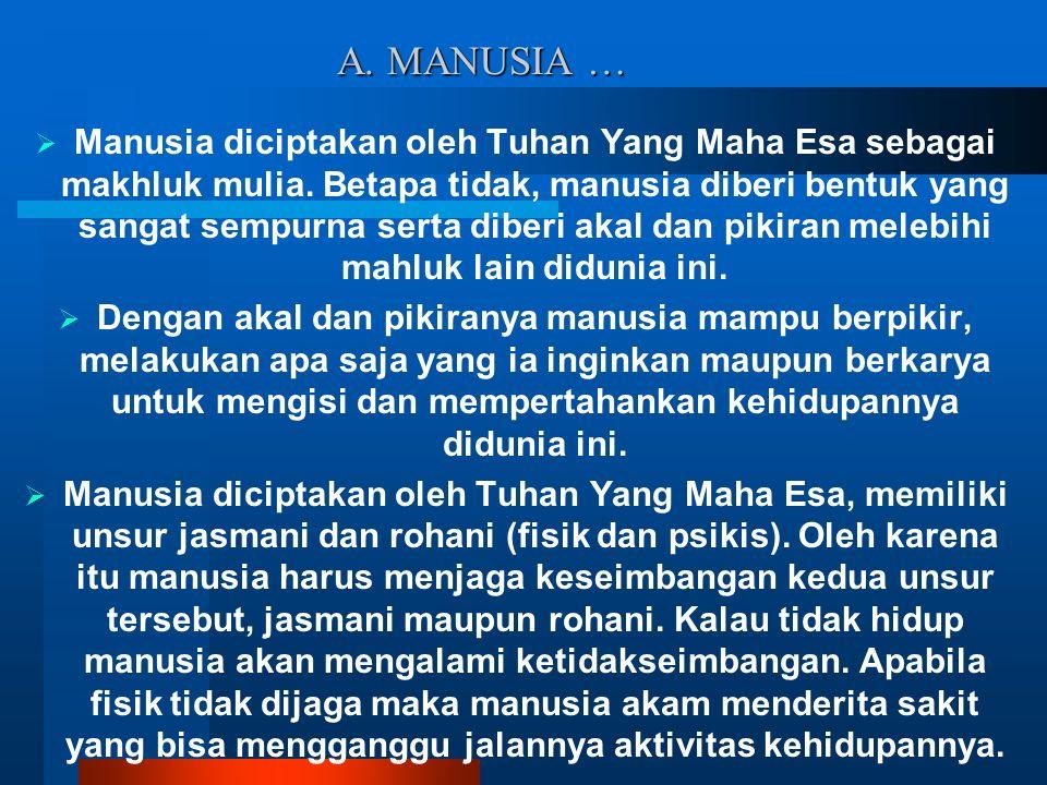 A. MANUSIA …  Manusia diciptakan oleh Tuhan Yang Maha Esa sebagai makhluk mulia. Betapa tidak, manusia diberi bentuk yang sangat sempurna serta diber