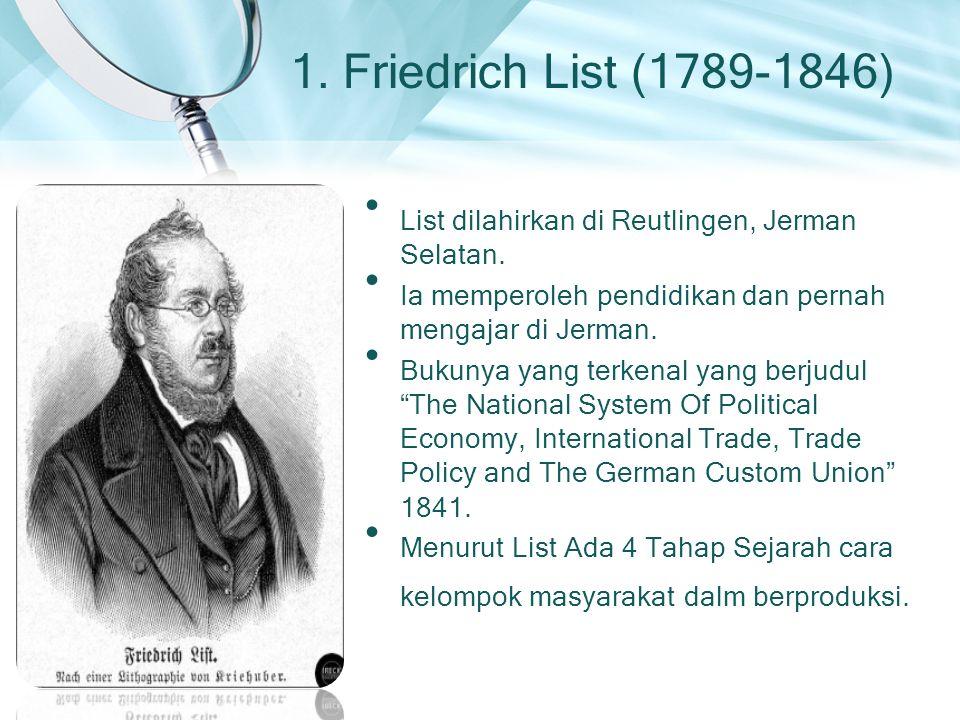 1. Friedrich List (1789-1846) List dilahirkan di Reutlingen, Jerman Selatan. Ia memperoleh pendidikan dan pernah mengajar di Jerman. Bukunya yang terk