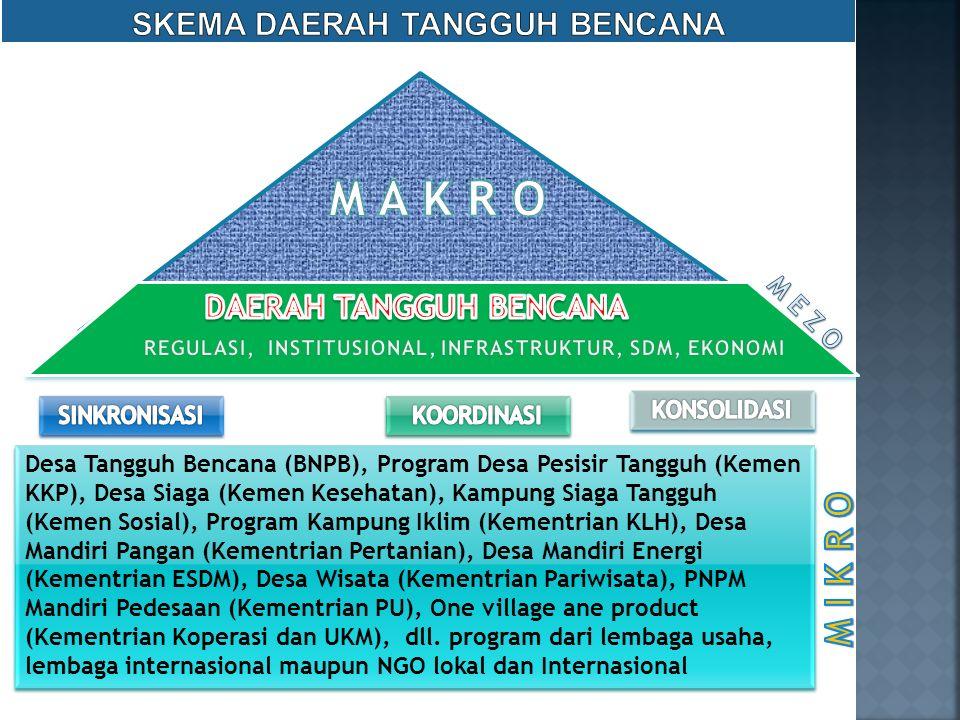 Desa Tangguh Bencana (BNPB), Program Desa Pesisir Tangguh (Kemen KKP), Desa Siaga (Kemen Kesehatan), Kampung Siaga Tangguh (Kemen Sosial), Program Kam