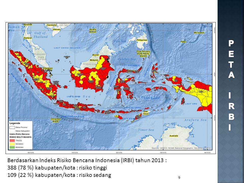 9 Berdasarkan Indeks Risiko Bencana Indonesia (IRBI) tahun 2013 : 388 (78 %) kabupaten/kota : risiko tinggi 109 (22 %) kabupaten/kota : risiko sedang