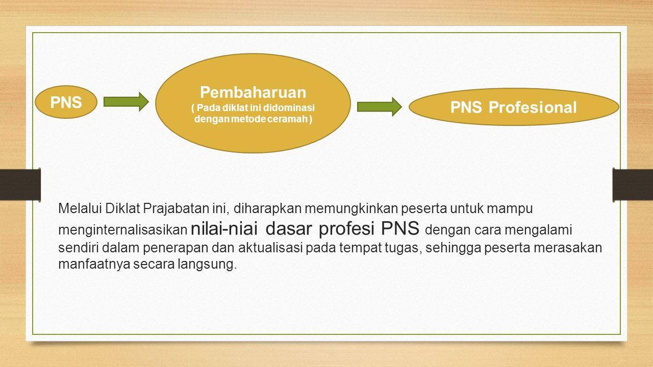 Melalui Diklat Prajabatan ini, diharapkan memungkinkan peserta untuk mampu menginternalisasikan nilai-niai dasar profesi PNS dengan cara mengalami sen