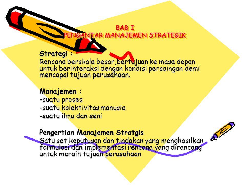 Sembilan tugas penting dalam Manajemen Strategik : 1.Merumuskan misi perusahaan (maksud,filosofi dan sasaran perusahaan) 2.Melakukan analisis kondisi & kapabilitas internal perusahaan 3.Menilai lingkungan eksternal,termasuk faktor pesaing 4.Menganalisis pilihan-pilihan yang dimiliki dengan cara menyesuaikan sumber daya dengan lingkungan eksternal 5.Mengidentifikasi pilihan paling menguntungkan dengan cara mengevaluasi setiap pilihan berdasarkan misi 6.Memilih satu set tujuan jangka panjang & strategi utama 7.Mengembangkan tujuan tahunan & strategi jangka pendek sesuai dengan tujuan jangka panjang 8.Mengimplementasikan strategi yang telah dipilih melalui alokasi sumber daya 9.Mengevaluasi keberhasilan proses strategi sebagai masukan pengambilan keputusan dimasa datang