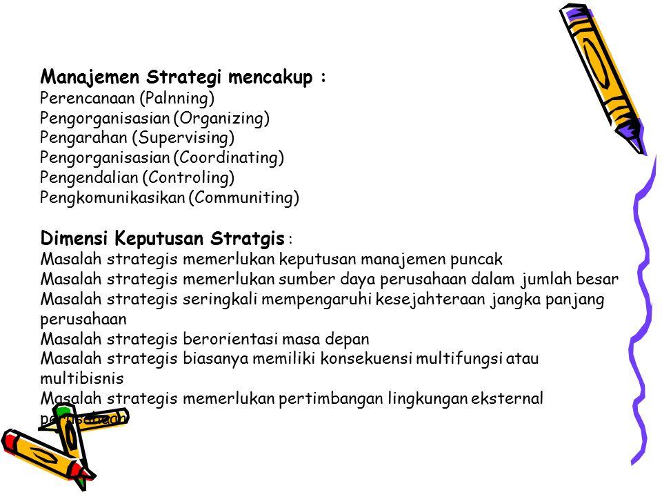 Manajemen Strategi mencakup : Perencanaan (Palnning) Pengorganisasian (Organizing) Pengarahan (Supervising) Pengorganisasian (Coordinating) Pengendalian (Controling) Pengkomunikasikan (Communiting) Dimensi Keputusan Stratgis : Masalah strategis memerlukan keputusan manajemen puncak Masalah strategis memerlukan sumber daya perusahaan dalam jumlah besar Masalah strategis seringkali mempengaruhi kesejahteraan jangka panjang perusahaan Masalah strategis berorientasi masa depan Masalah strategis biasanya memiliki konsekuensi multifungsi atau multibisnis Masalah strategis memerlukan pertimbangan lingkungan eksternal perusahaan