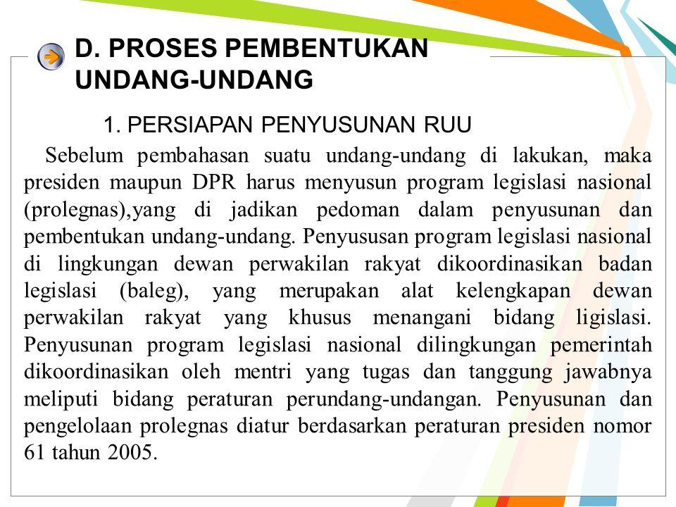 D. PROSES PEMBENTUKAN UNDANG-UNDANG 1.