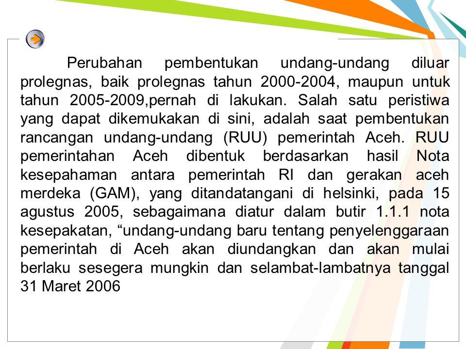 Perubahan pembentukan undang-undang diluar prolegnas, baik prolegnas tahun 2000-2004, maupun untuk tahun 2005-2009,pernah di lakukan. Salah satu peris