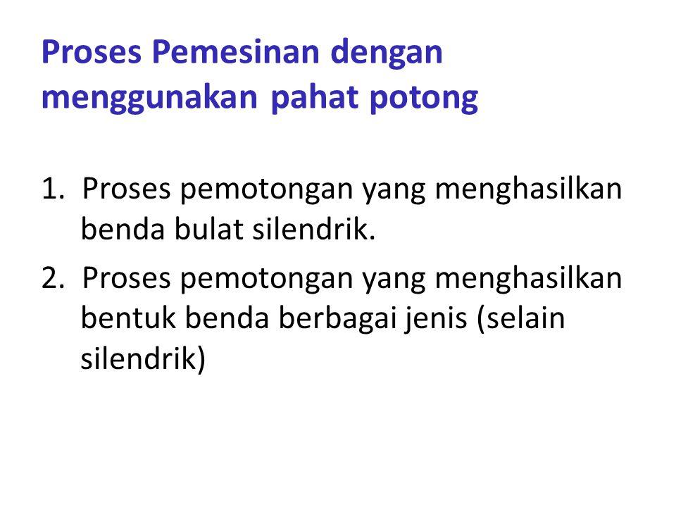 Proses Pemesinan dengan menggunakan pahat potong 1.