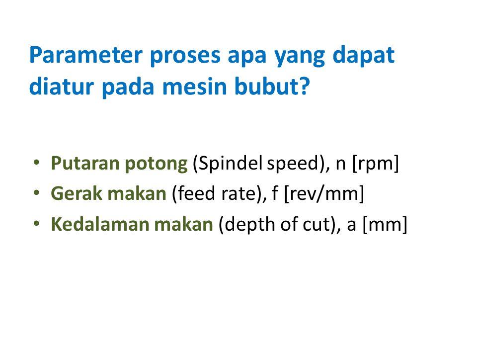 Putaran potong (Spindel speed), n [rpm] Gerak makan (feed rate), f [rev/mm] Kedalaman makan (depth of cut), a [mm] Parameter proses apa yang dapat diatur pada mesin bubut?