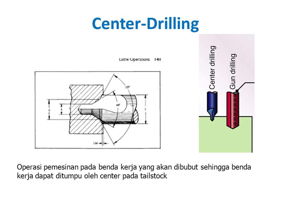 Center-Drilling Operasi pemesinan pada benda kerja yang akan dibubut sehingga benda kerja dapat ditumpu oleh center pada tailstock