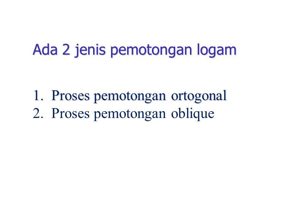Ada 2 jenis pemotongan logam 1. Proses pemotongan ortogonal 2. Proses pemotongan oblique