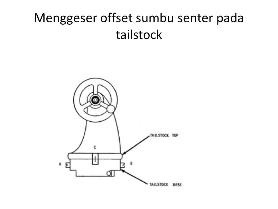 Menggeser offset sumbu senter pada tailstock