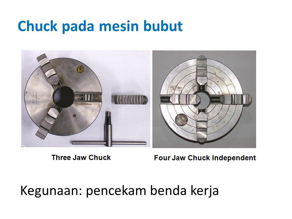 Chuck pada mesin bubut Kegunaan: pencekam benda kerja