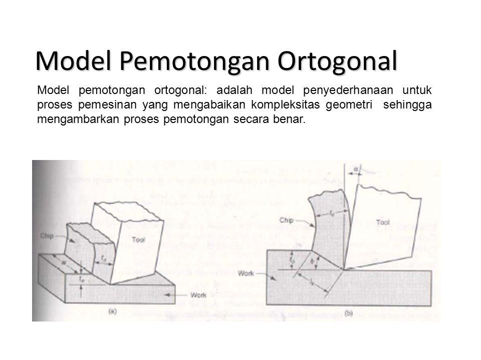 Model Pemotongan Ortogonal Model pemotongan ortogonal: adalah model penyederhanaan untuk proses pemesinan yang mengabaikan kompleksitas geometri sehingga mengambarkan proses pemotongan secara benar.