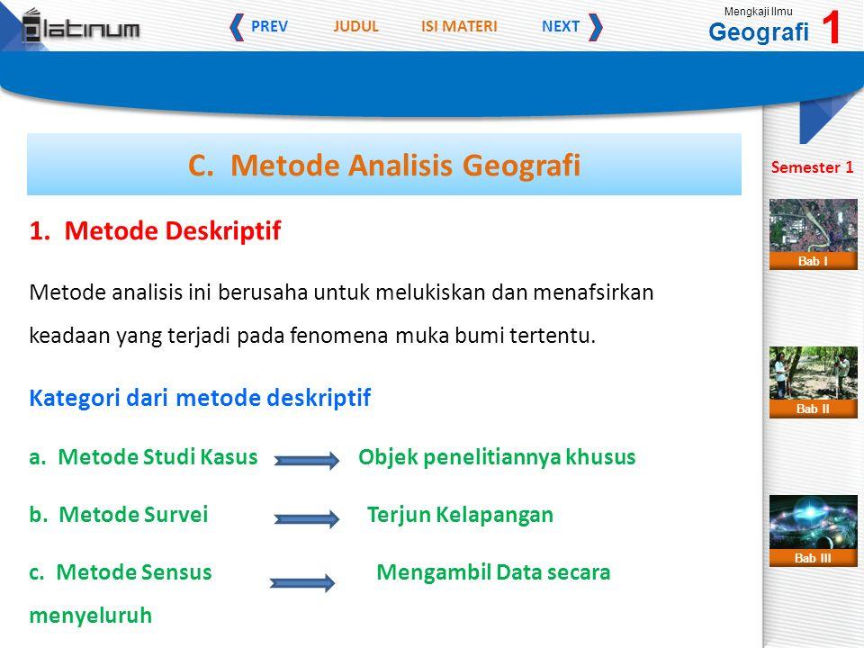 JUDULISI MATERI PREVNEXT Mengkaji Ilmu Geografi 1 Semester 1 Bab II Bab III Bab I 1. Metode Deskriptif Metode analisis ini berusaha untuk melukiskan d