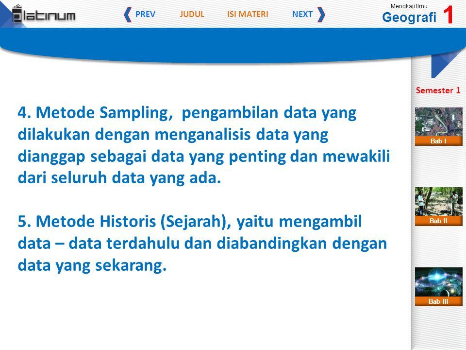 JUDULISI MATERI PREVNEXT Mengkaji Ilmu Geografi 1 Semester 1 Bab II Bab III Bab I 4. Metode Sampling, pengambilan data yang dilakukan dengan menganali