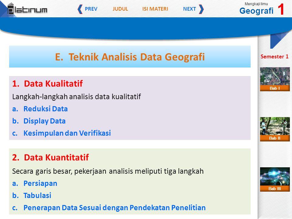 JUDULISI MATERI PREVNEXT Mengkaji Ilmu Geografi 1 Semester 1 Bab II Bab III Bab I E. Teknik Analisis Data Geografi 1. Data Kualitatif Langkah-langkah