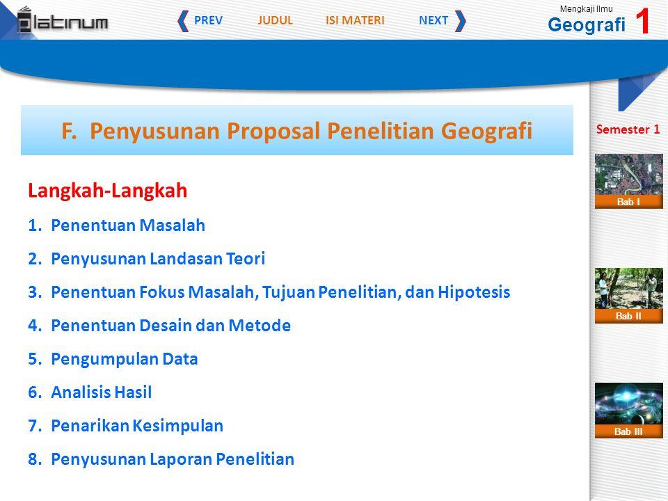 JUDULISI MATERI PREVNEXT Mengkaji Ilmu Geografi 1 Semester 1 Bab II Bab III Bab I F.