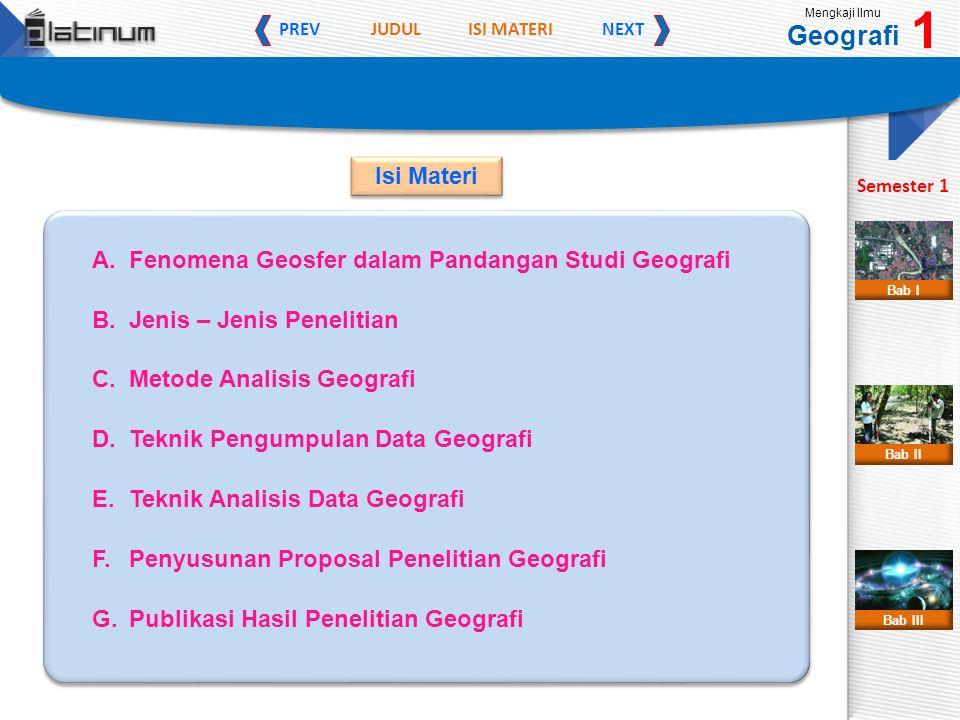 JUDULISI MATERI PREVNEXT Mengkaji Ilmu Geografi 1 Semester 1 Bab II Bab III Bab I A. Fenomena Geosfer dalam Pandangan Studi Geografi B. Jenis – Jenis