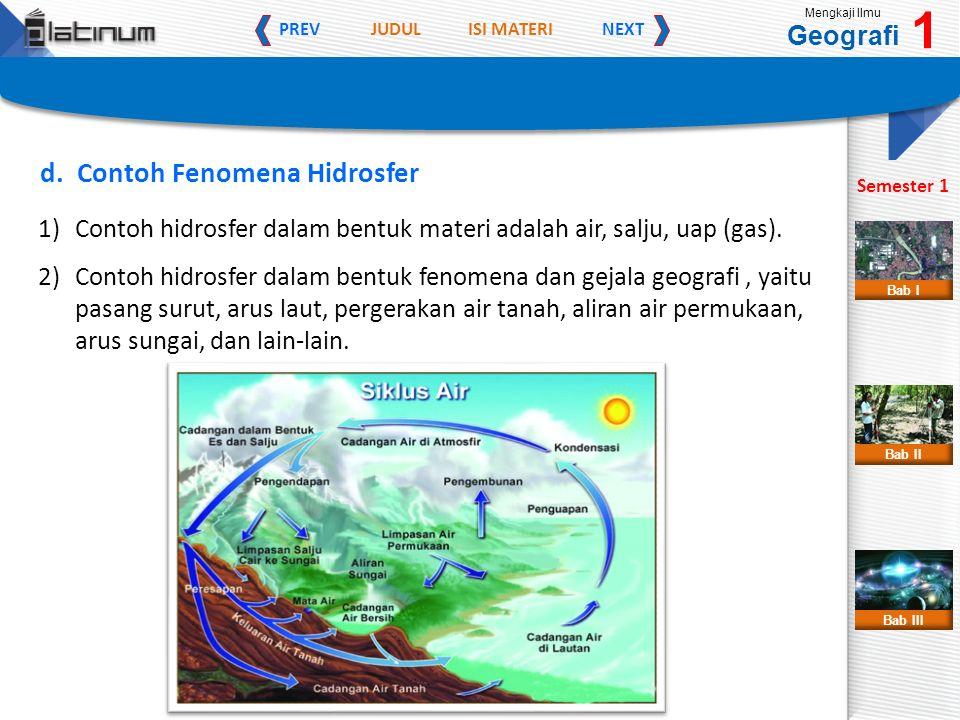 JUDULISI MATERI PREVNEXT Mengkaji Ilmu Geografi 1 Semester 1 Bab II Bab III Bab I d. Contoh Fenomena Hidrosfer 1)Contoh hidrosfer dalam bentuk materi