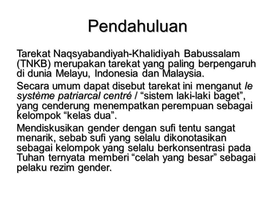 Penutup Merujuk pada deskripsi yang dikemukan, kaum sufi dengan referensi TNKB menganut sistem yang sangat laki-laki; memenangkan kepentingan laki-laki, maka tentu TNKB sebagai institusi spiritual memberi ruang besar terhadap pelaksanaan dominasi laki- laki atas perempun sebagai rezim gender.
