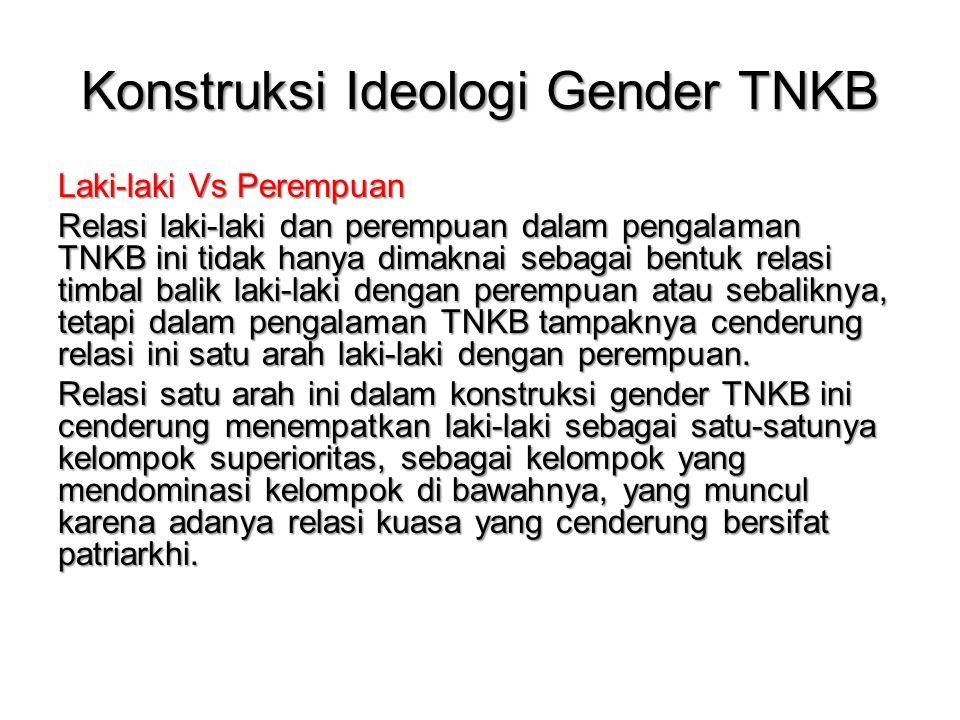 Konstruksi Ideologi Gender TNKB Laki-laki Vs Perempuan Relasi laki-laki dan perempuan dalam pengalaman TNKB ini tidak hanya dimaknai sebagai bentuk relasi timbal balik laki-laki dengan perempuan atau sebaliknya, tetapi dalam pengalaman TNKB tampaknya cenderung relasi ini satu arah laki-laki dengan perempuan.