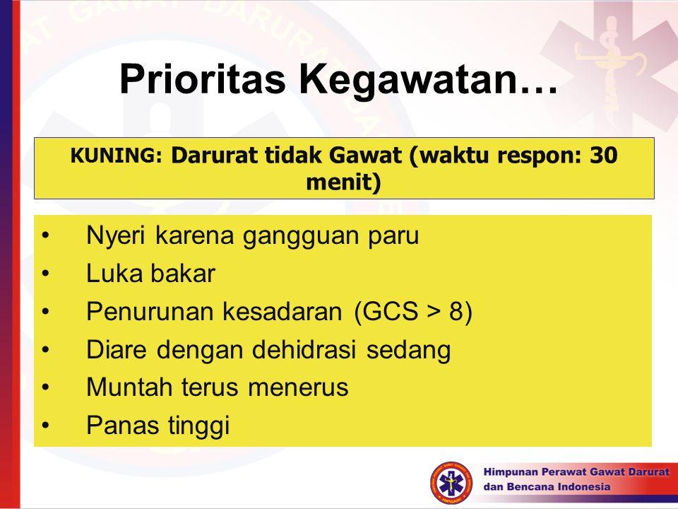 Prioritas Kegawatan… Nyeri karena gangguan paru Luka bakar Penurunan kesadaran (GCS > 8) Diare dengan dehidrasi sedang Muntah terus menerus Panas ting