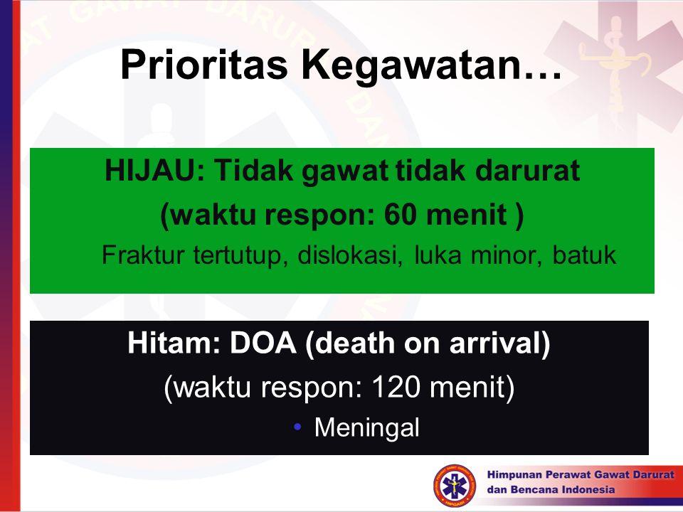 Prioritas Kegawatan… HIJAU: Tidak gawat tidak darurat (waktu respon: 60 menit ) Fraktur tertutup, dislokasi, luka minor, batuk Hitam: DOA (death on ar