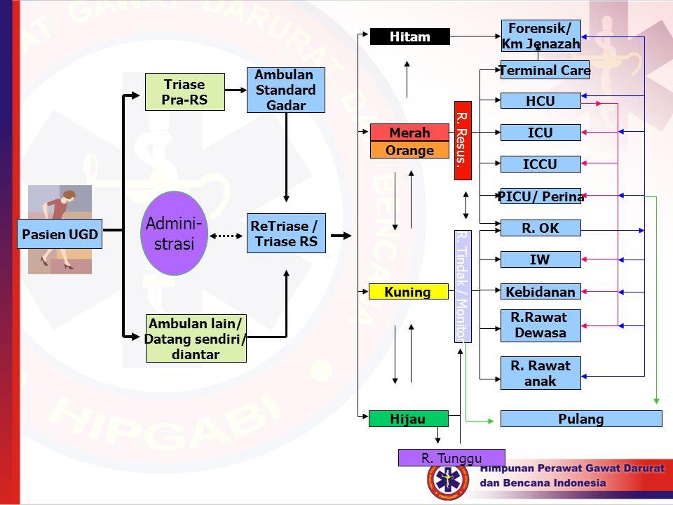Pasien UGD Ambulan Standard Gadar Ambulan lain/ Datang sendiri/ diantar Triase Pra-RS Hitam Merah Kuning Hijau Forensik/ Km Jenazah Terminal Care HCU