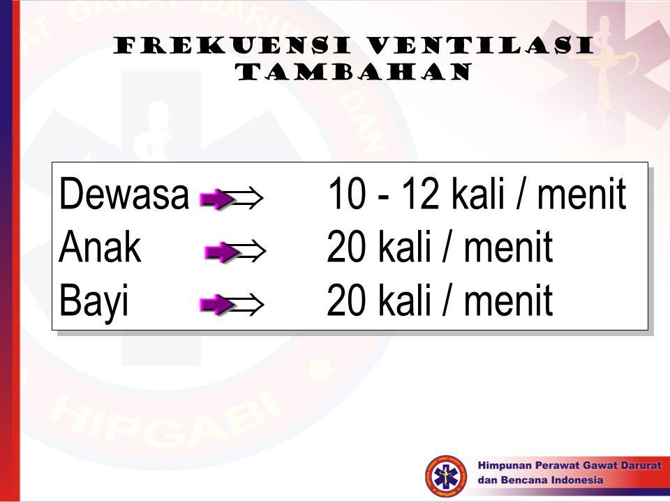 Dewasa  10 - 12 kali / menit Anak  20 kali / menit Bayi  20 kali / menit Dewasa  10 - 12 kali / menit Anak  20 kali / menit Bayi  20 kali / meni